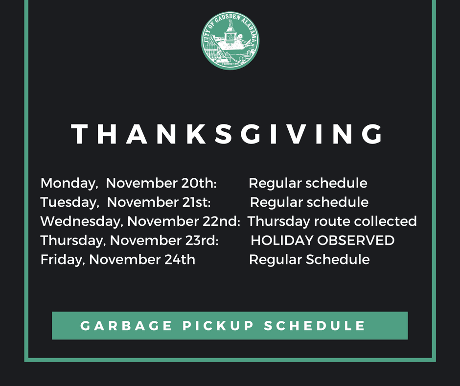 thanksgiving garbage schedule