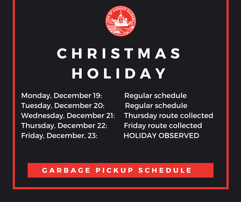 Christmas And New Year Holiday Garbage Collection Schedule